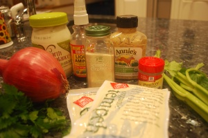 Faux Chicken Salad ingredients