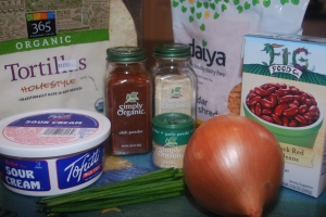 ingredients for bean and cheese quesadillas