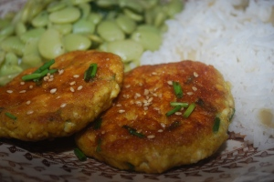 Garlic Ginger Tofu Cakes, lima beans and rice